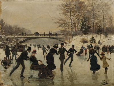 Ice Skaters at the Bois de Boulogne by Léon Joseph Voirin