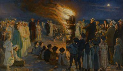 Midsummer Eve bonfire on Skagen's beach by P.S. Krøyer
