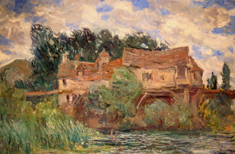 Houses on the Old Bridge at Vernon by Claude Monet