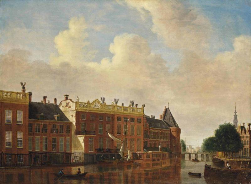 A view from the Binnen-Amstel towards the Kloveniersburgwal by Jan Ekels