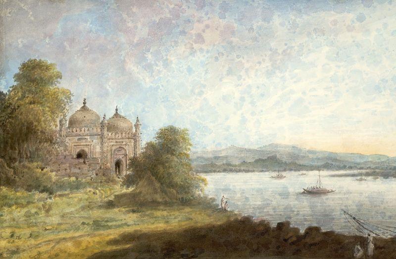 Akbari Mosque Overlooking Ganges by Sita Ram