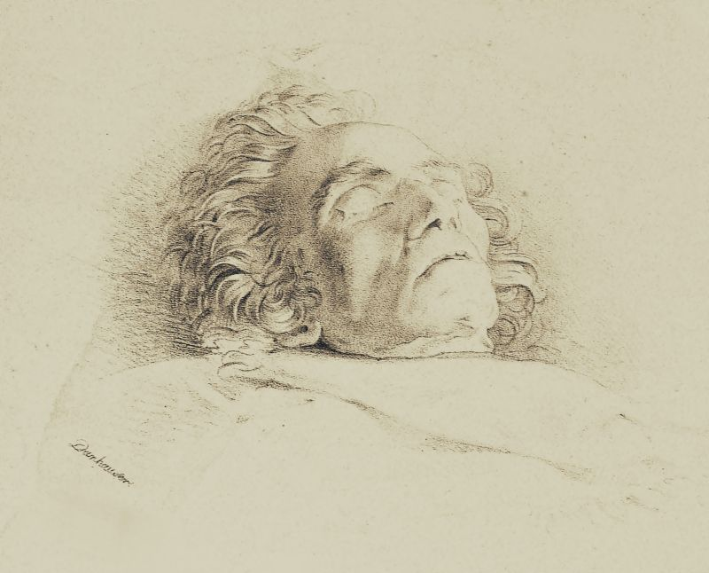 Lithograph of Beethoven on his deathbed by Josef Danhauser