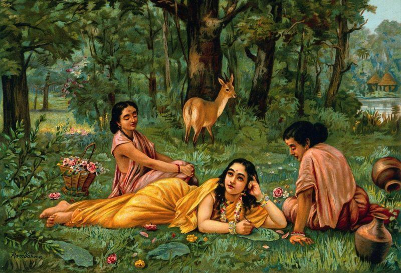 Shakuntala Patralekhan by Raja Ravi Varma