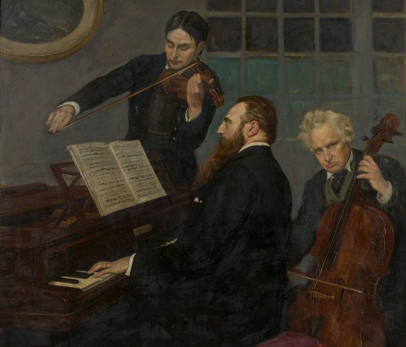 Trois Musiciens Dans un Intérieur by Henry Caro-Delvaille