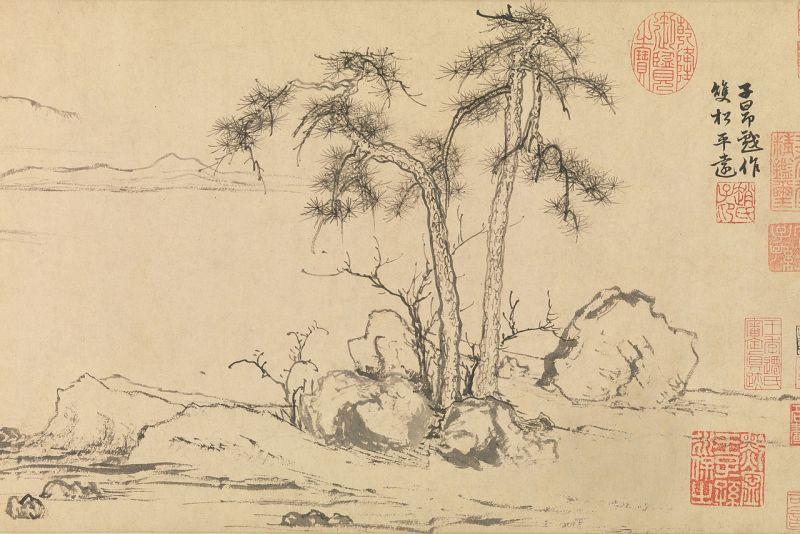 Twin Pines by Zhao Mengfu