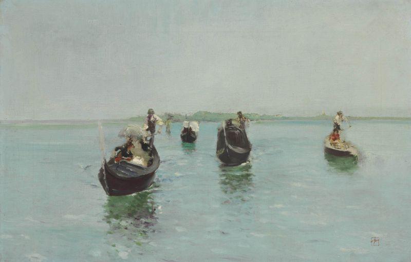 Venetian Gondoliers by Robert Frederick Blum