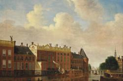 A view from the Binnen-Amstel towards the Kloveniersburgwal by Jan Ekels
