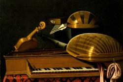 Still Life with Musical Instruments and Books by Bartholomeo Bettera
