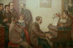 Godebski Reunion of Musicians by Georges d'Espagnat. Schmitt, De Severac,  Calvocoressi, Godebski & son, Roussel, Vines (at piano), Ravel.