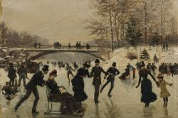 Ice Skaters at the Bois de Boulogne by Léon Joseph Voirin