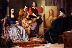 Leonardo da Vinci Painting The Mona Lisa by Cesare Maccari