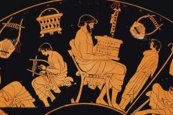 The fifth-century B.C. kylix depicts scenes from educational life